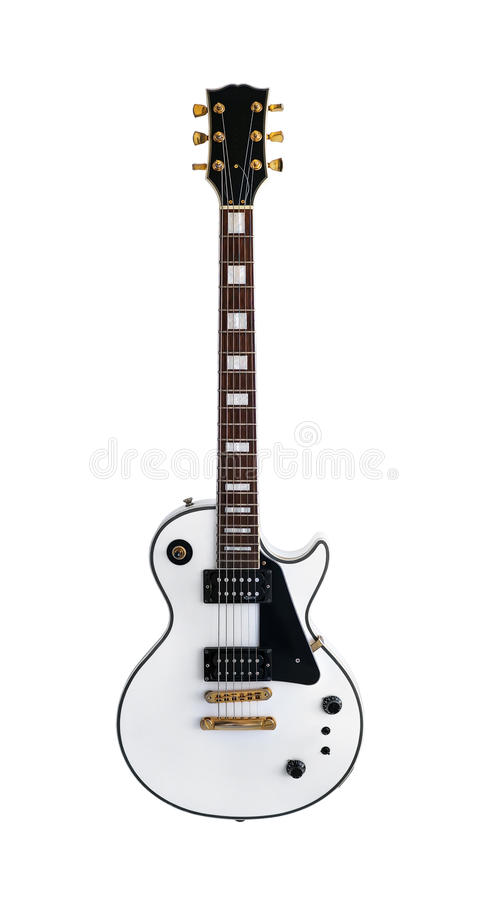 Electric guitar the classic shape Les Paul on white background. White electric guitar the classic shape Les Paul on an isolated white background. Gibson royalty free stock photo