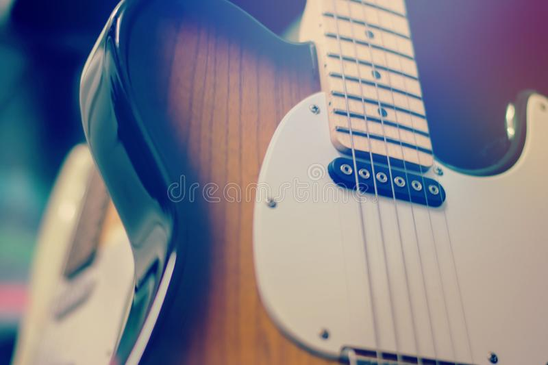Electric guitar close up detail.  stock images