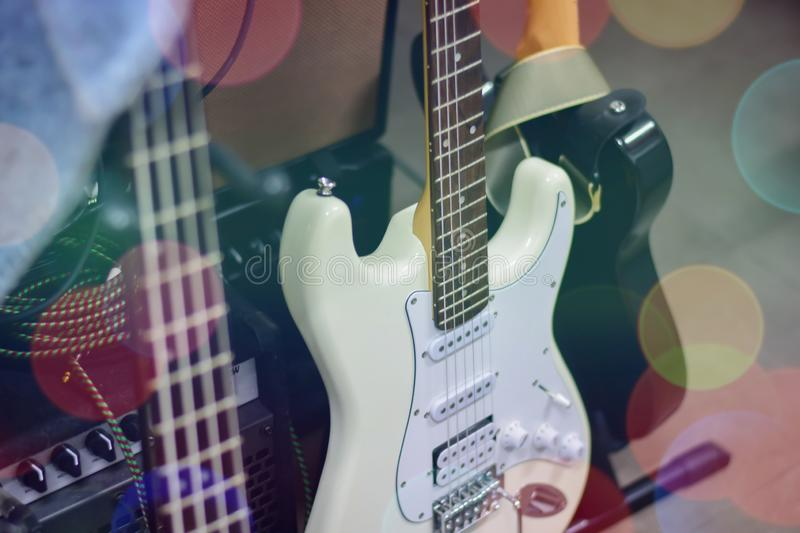 Electric guitar close up detail. Soft and blur concept stock image