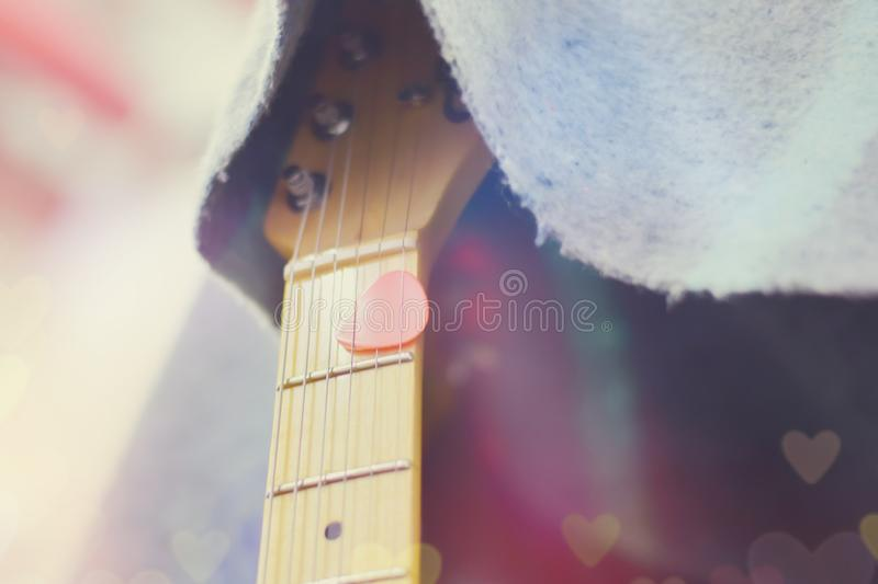 Electric guitar close up detail. Soft and blur concept royalty free stock images
