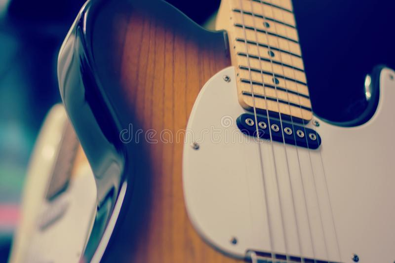 Electric guitar close up detail. Soft and blur concept royalty free stock image