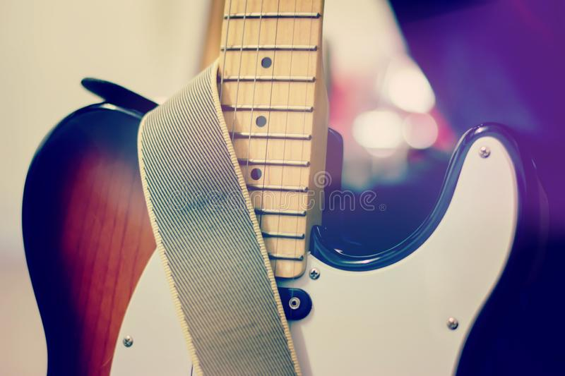 Electric guitar close up detail. Soft and blur concept stock photos