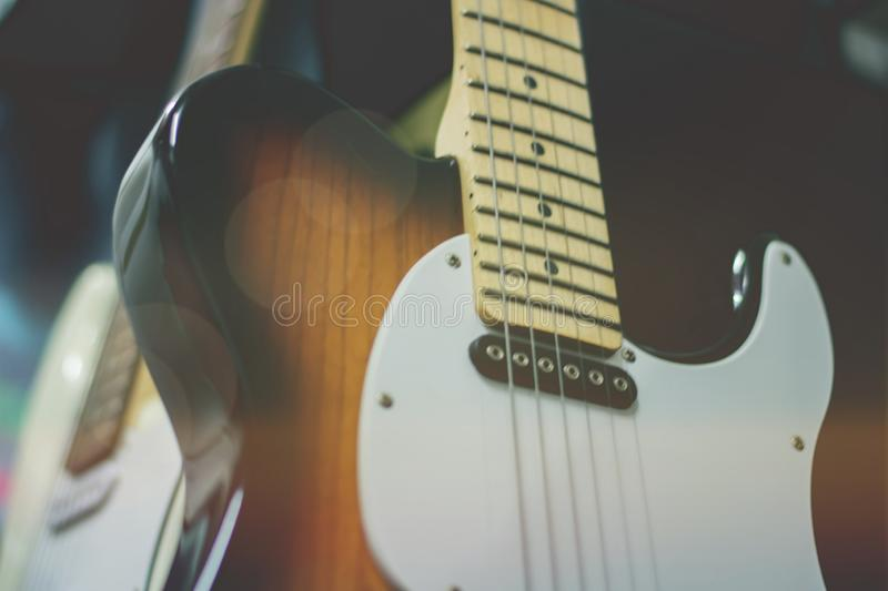 Electric guitar close up detail. Soft and blur concept. acoustic background bass classic closeup concert entertainment instrument jazz macro metal music stock photo