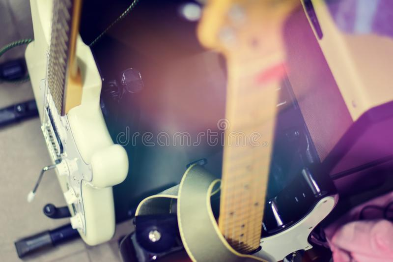 Electric guitar close up detail. Soft and blur concept royalty free stock photography