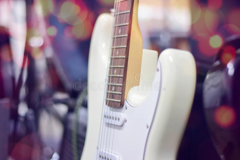 Electric guitar close up detail. Soft and blur concept royalty free stock photos