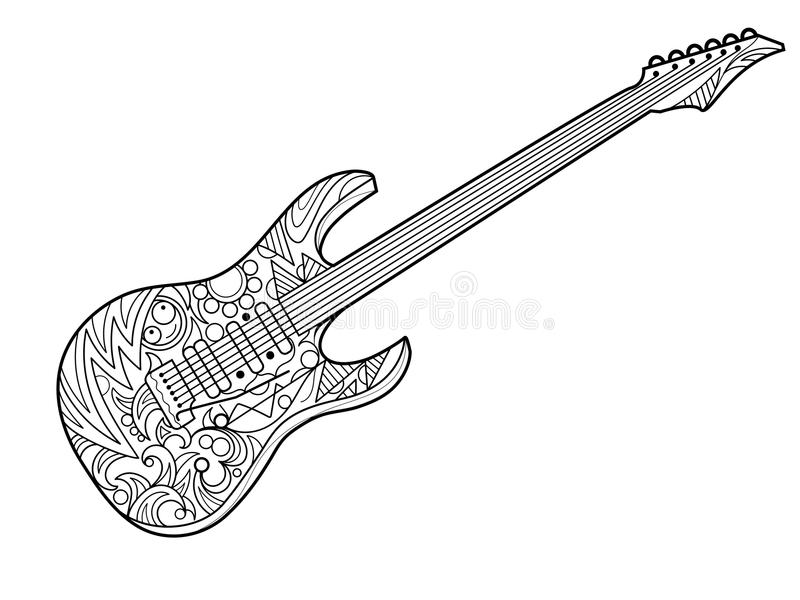 Electric guitar coloring book for adults vector stock for Electric guitar coloring page