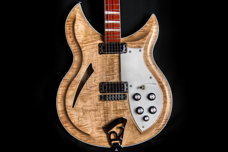 Electric Guitar Curves Contrasts Carves Flamed Maple royalty free stock photos