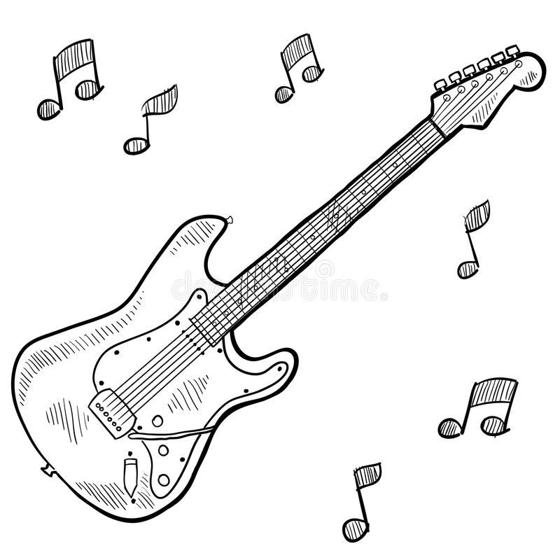 Download Electric Guitar Drawing Stock Vector Illustration Of Fretboard