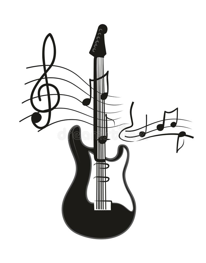 electric guitar stock vector illustration of notes musical 51726908 rh dreamstime com Music Notes Music Notes Graphics