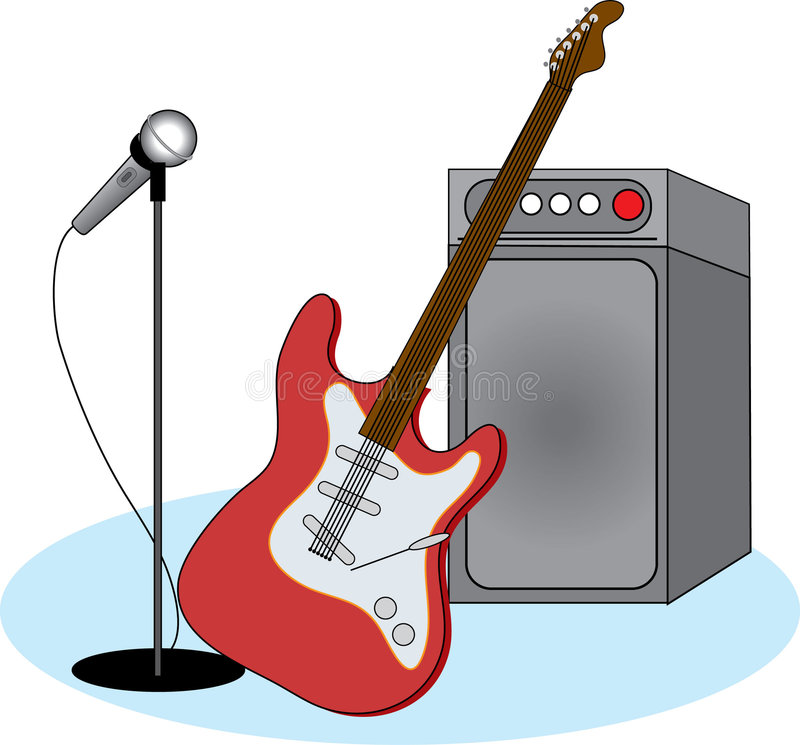 Electric guitar and equipment. Electric guitar leaning against speaker and a mic stock illustration