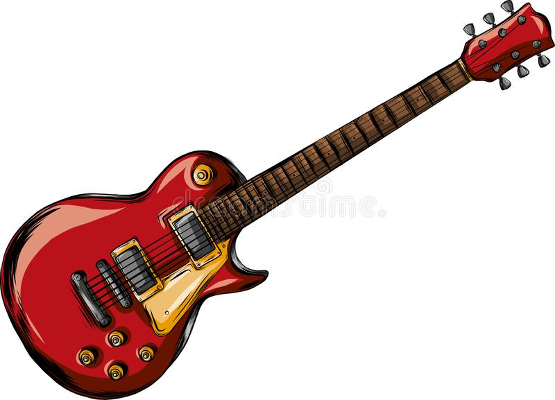Electric guitar flat vector illustration. Rock music instrument royalty free illustration