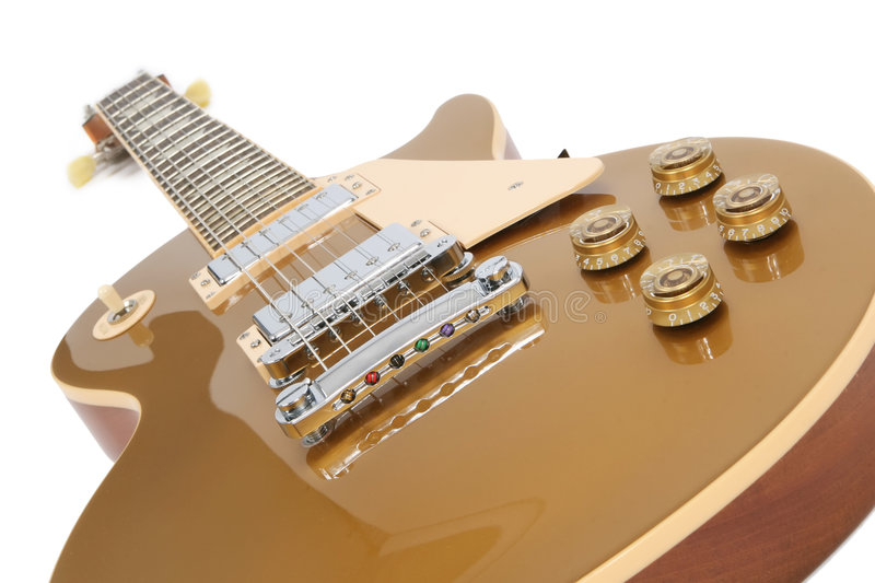 Electric Guitar (Gibson Les Paul Gold Top). Isolated on white stock photo
