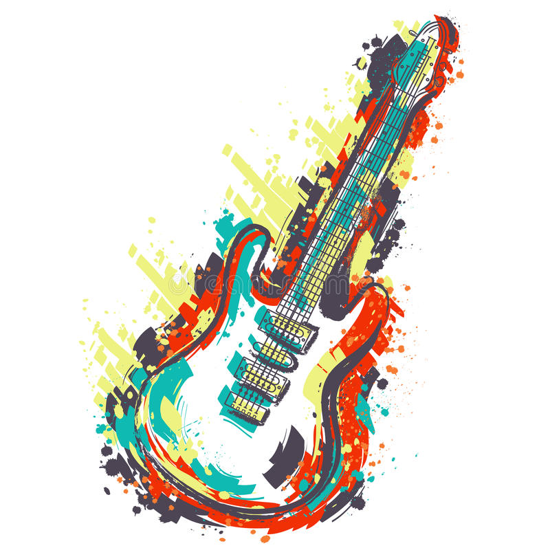 Free Electric Guitar. Hand Drawn Grunge Style Art. Stock Images - 72398424