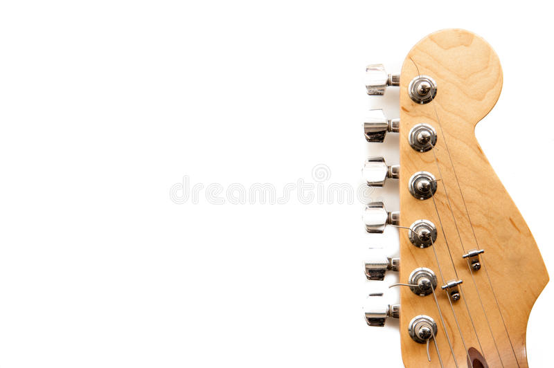 Electric guitar headstock detail isolated royalty free stock photography