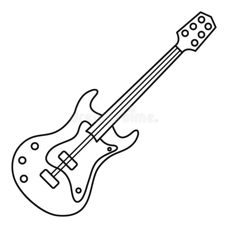 electric guitar icon  outline style stock vector