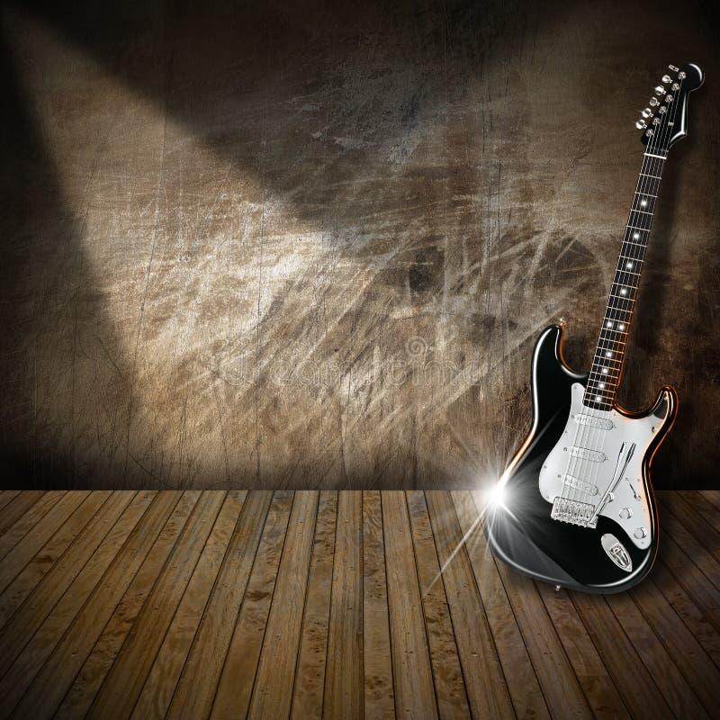 Electric Guitar in Interior Grunge Room vector illustration