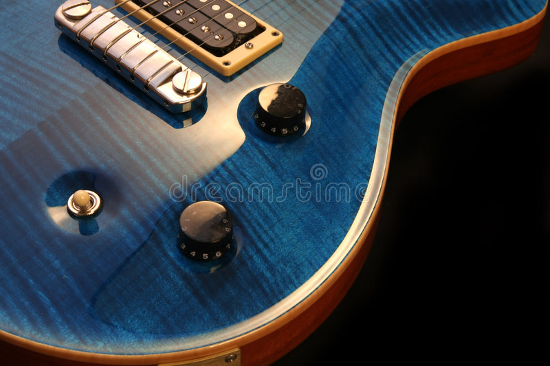 Electric guitar isolated. On black background stock photo