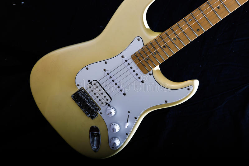 Electric guitar isolated on the black. Background stock photo
