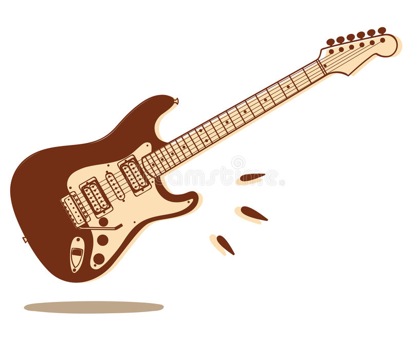 Electric guitar isolated. Illustration of electric guitar isolated on white background vector illustration