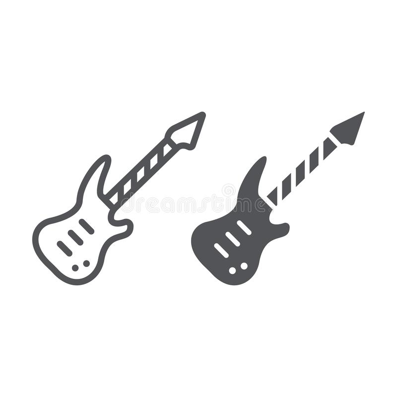 Electric guitar line and glyph icon, music and sound, string musical instrument sign, vector graphics, a linear pattern. On a white background, eps 10 stock illustration
