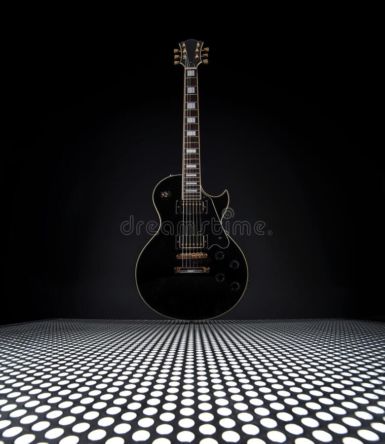 Electric Guitar On Metal Plate  royalty free stock images