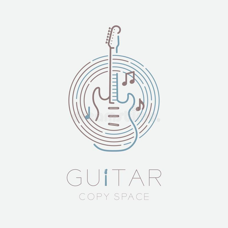 Electric guitar, music note with line staff circle shape logo icon outline stroke set dash line design illustration isolated on. Grey background with guitar royalty free illustration