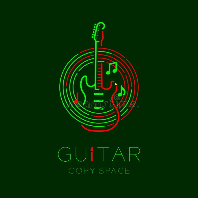 Electric guitar, music note with line staff circle shape logo icon outline stroke set dash line design illustration. Isolated on dark green background with stock illustration