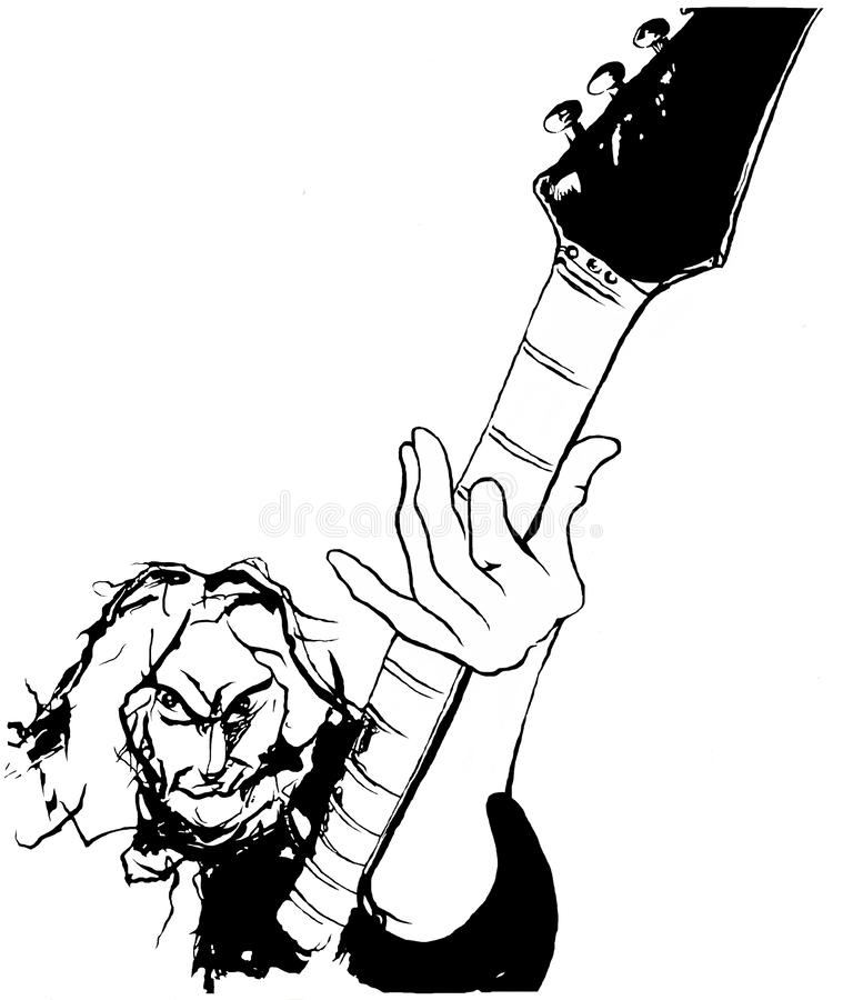 Electric guitar player black and white illustration stock illustration