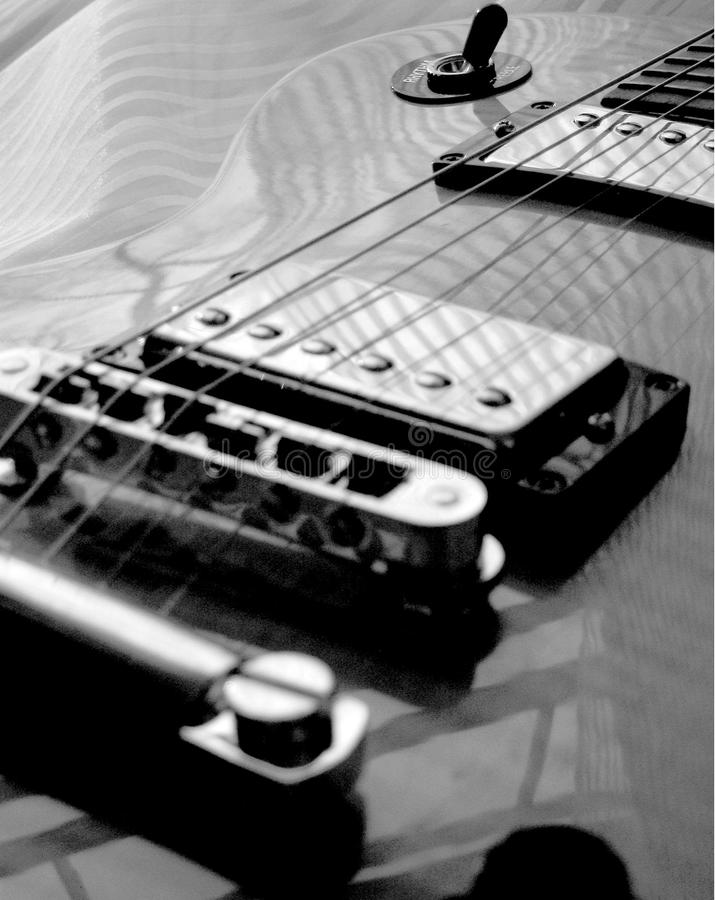 Electric Guitar Strings - Black & White - Pattern & Reflections stock image