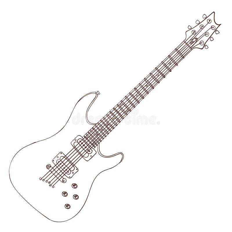 Electric Guitar VECTOR Line Art. Stock Vector - Illustration of ...