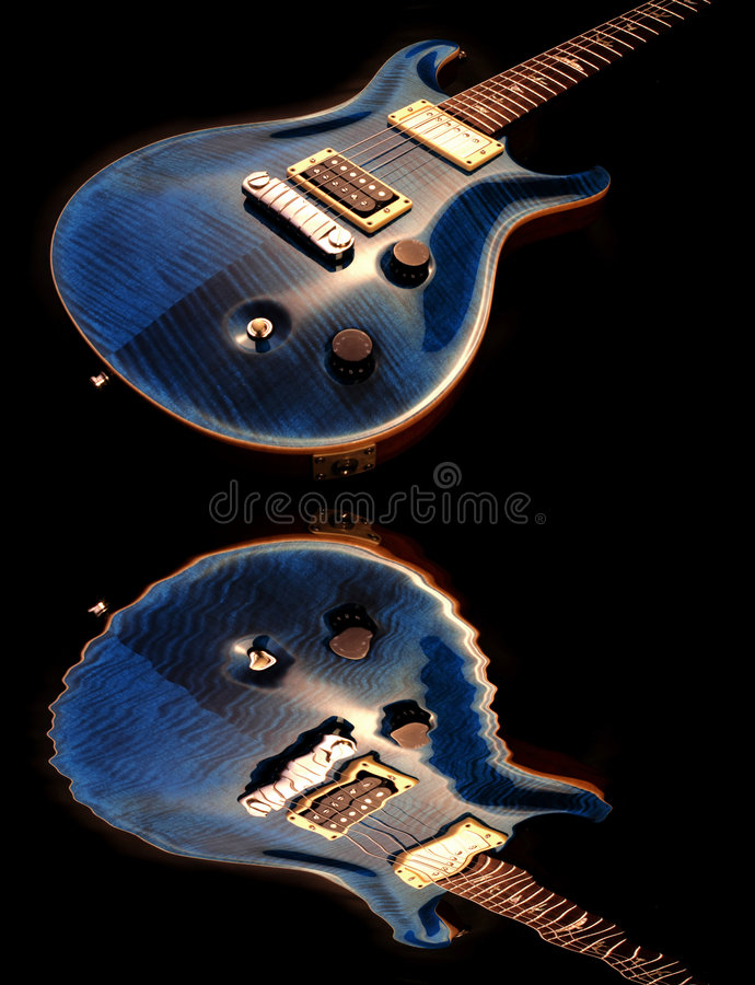 Electric guitar and water. Electric guitar isolated on the black royalty free stock image