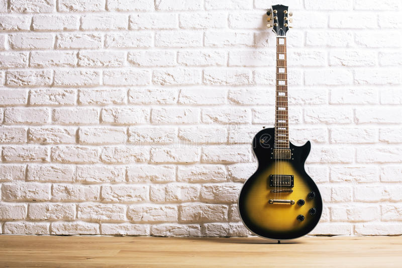 Electric guitar in white interior stock photo