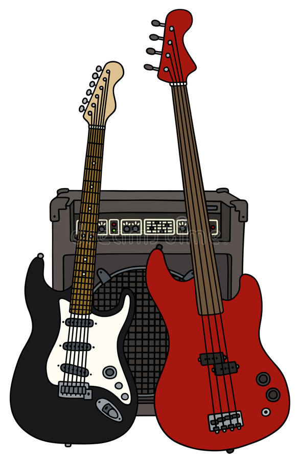 Electric guitars and the combo stock illustration