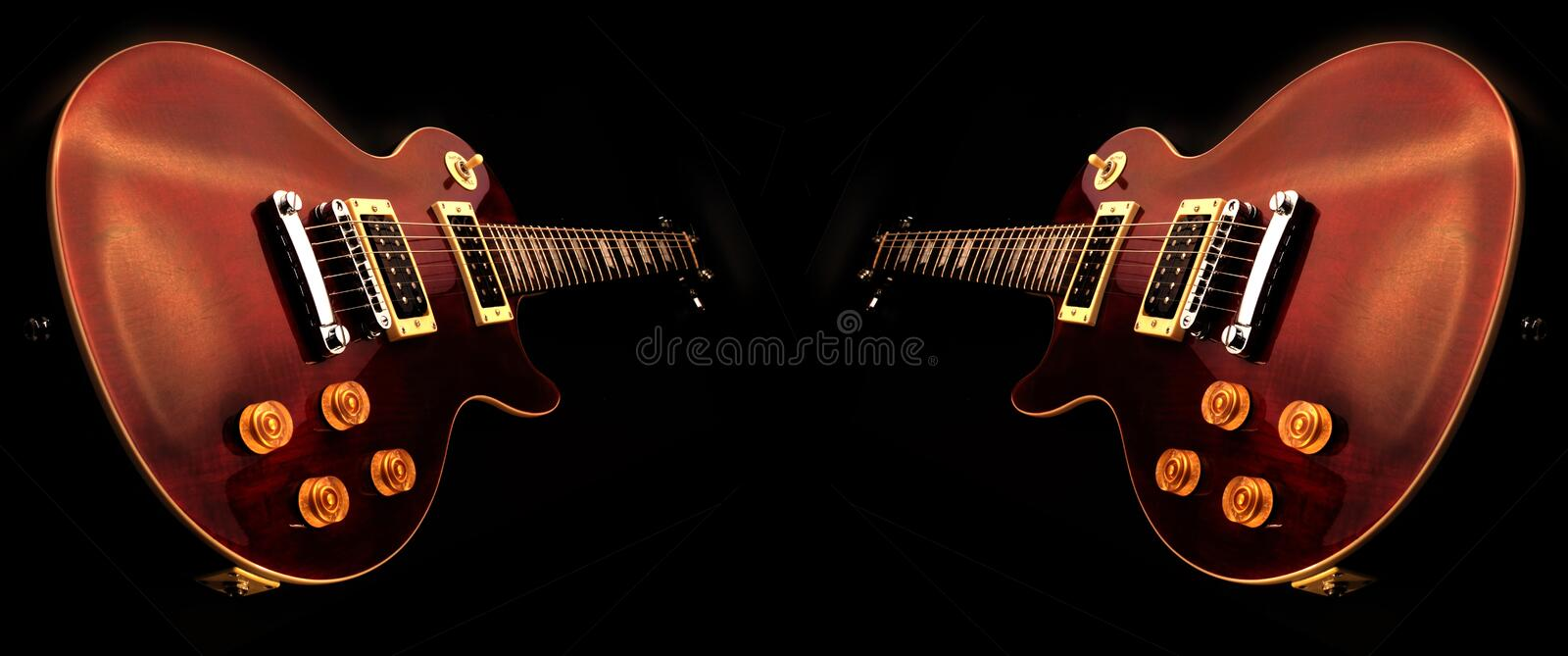 Electric guitars isolated. On the black background stock photography