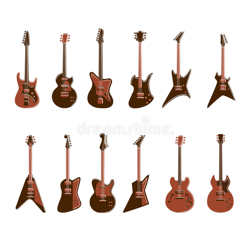 electric guitars set stock vector image of classical 81365855. Black Bedroom Furniture Sets. Home Design Ideas