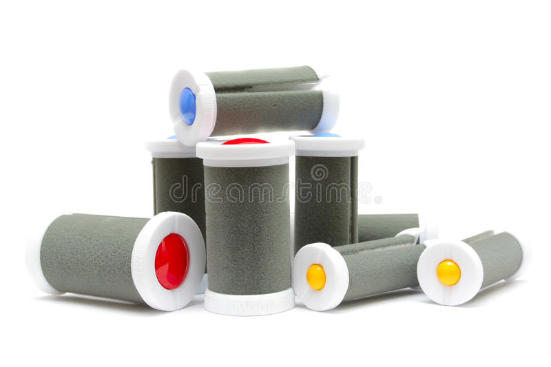 Electric heated hair rollers royalty free stock photo