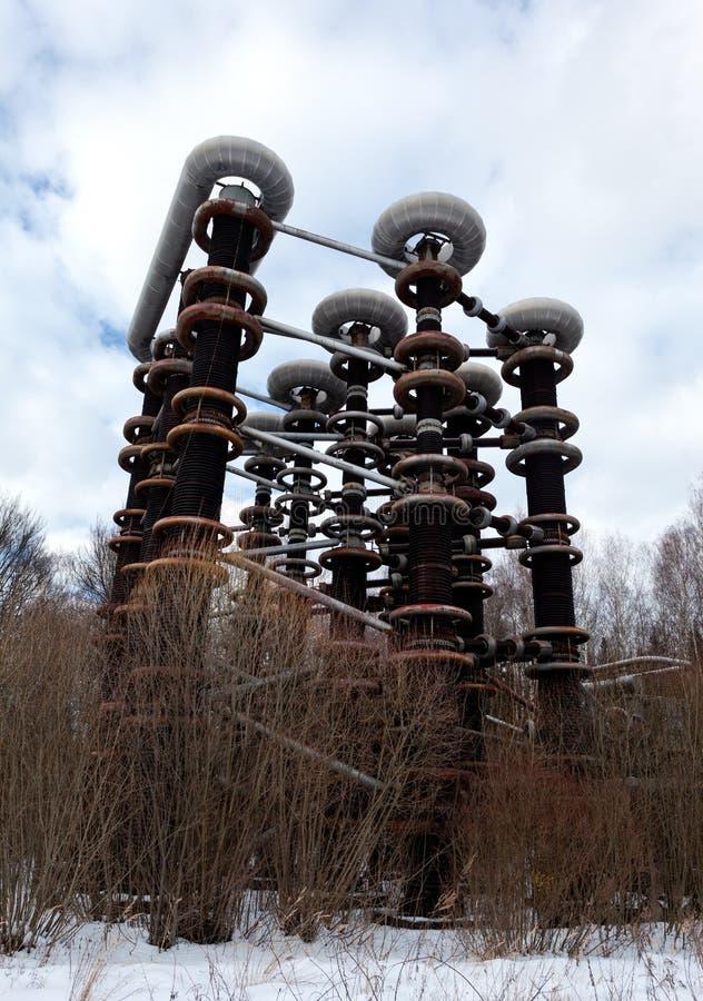 Electric High-voltage generator of Marx stock photos