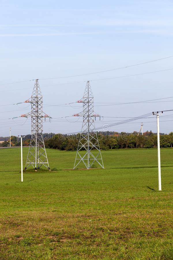 High-voltage pylons stock photography