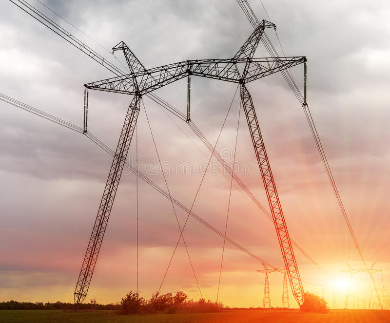 Electric high voltage power post. High Voltage Electric Transmission Tower Energy Pylon royalty free stock photos
