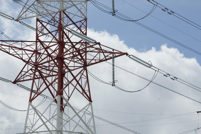 Electric High-voltage power transmission towers stock photography