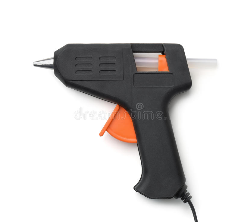 Electric hot glue gun. Isolated on white stock photography