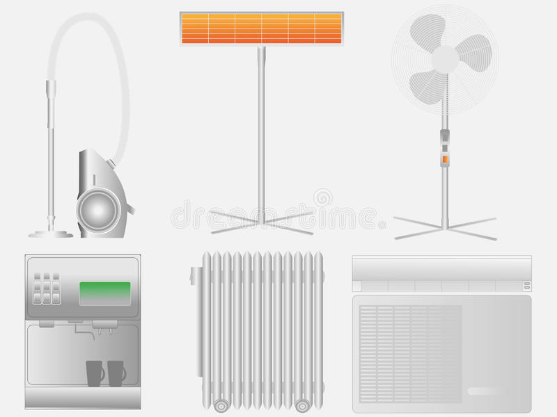 Electric household appliances vector illustration