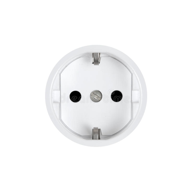 Electric household outlet. On a white background stock image