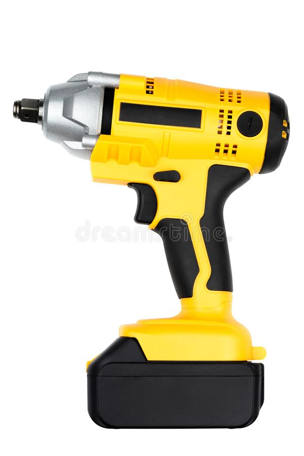 Electric impact wrench isolated on white background for construction, industrial, electrician concept design.  stock images