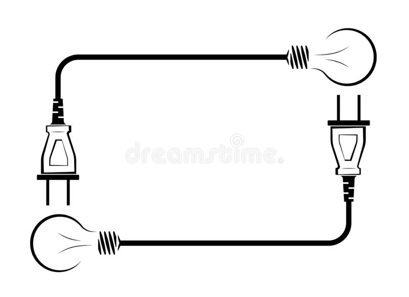 Electric incandescent lamp with wire and plug. Logo for an electrical company. Power supply and energy saving. Black and royalty free illustration