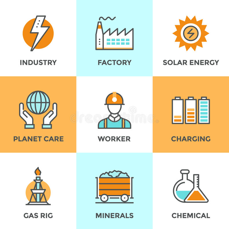 Electric industry line icons set royalty free illustration