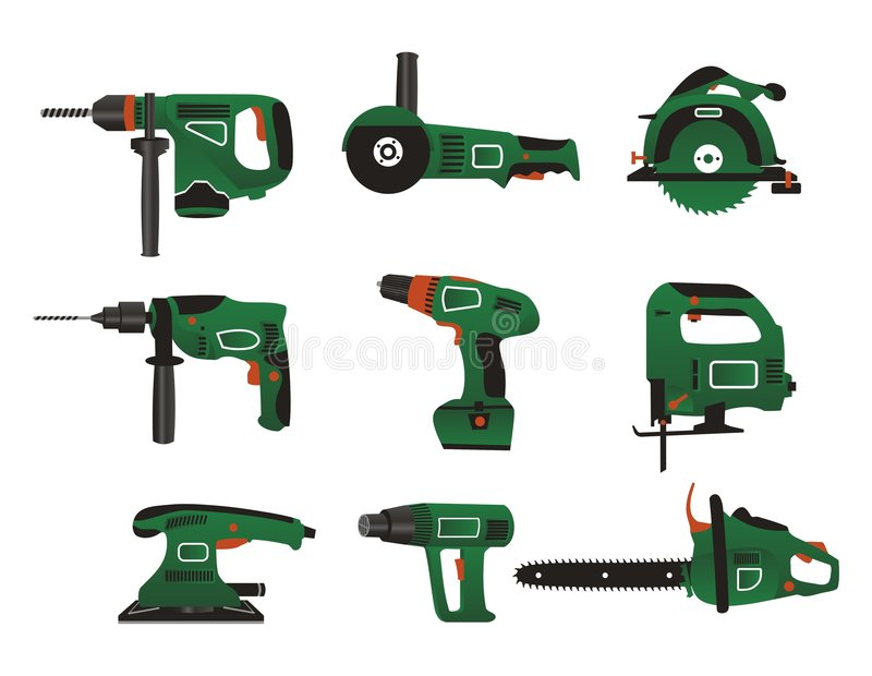 Electric instrument icons. Electric instrument for handwork in green and black colour stock illustration