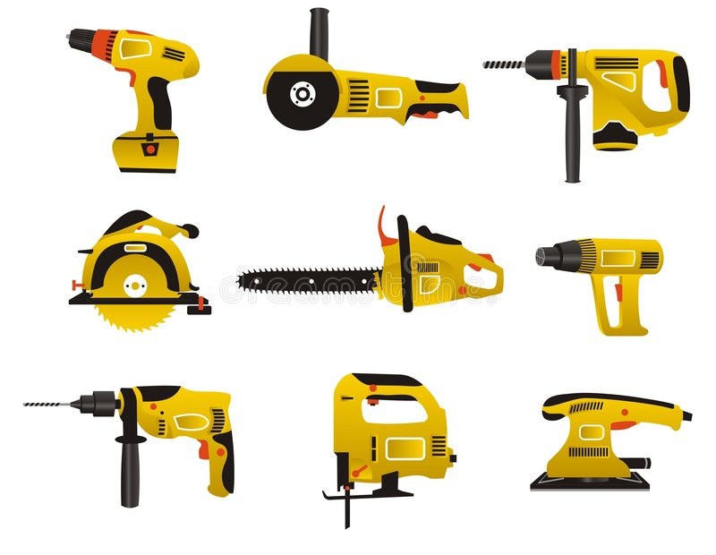 Electric instrument icons. Electric instrument for handwork in yellow and black color stock illustration