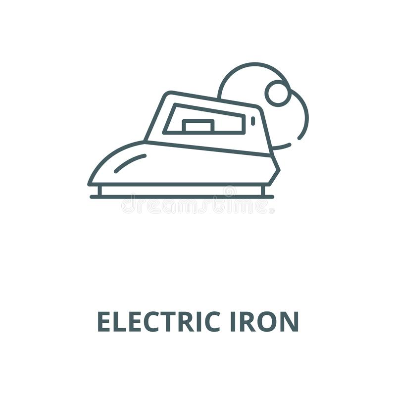 Electric iron line icon, vector. Electric iron outline sign, concept symbol, flat illustration stock illustration