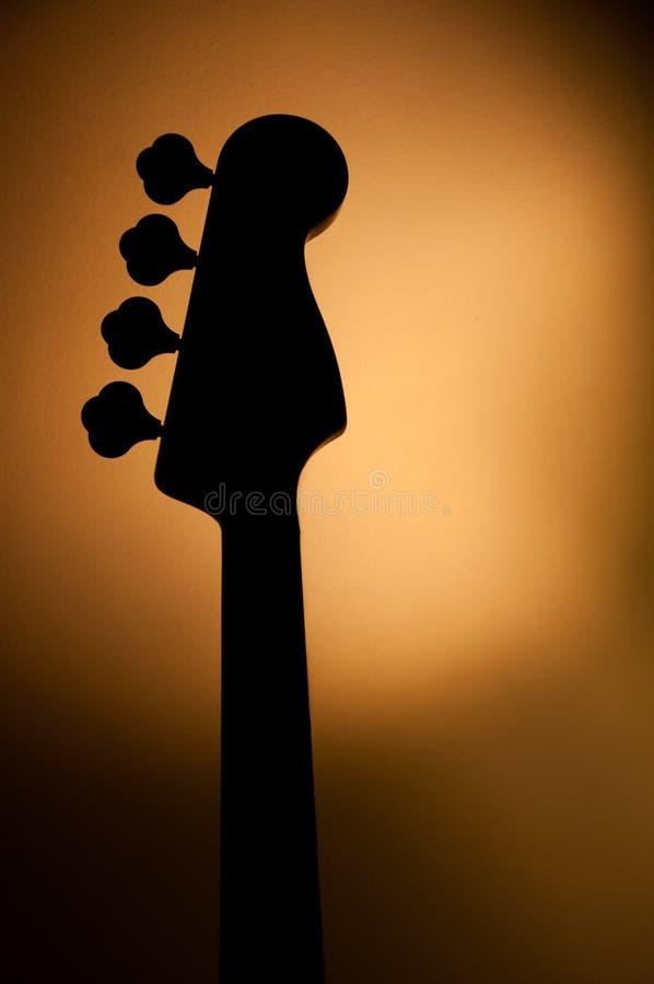 Electric jazz bass silhouette stock photos